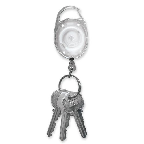 Wholesale CASE of 10 - Tatco Reel Key Chain w/ Chrome Carabiner-Reel Key Chain, 30'' Retractable Cord, 6/PK, Chrome