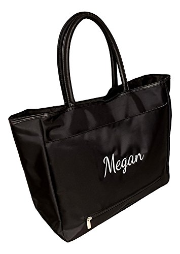 Custom Personalized Large Black Organizing Travel Companion Purse Handbag Bag (Name Personalized - Black)]()