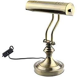"RUDY Piano Desk Lamp 15""H, Brushed Gold Finish - Elegant Home Accent and Perfect Gift SL003A"