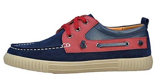 Serene Mens Fahsion Flat Heel Suede Casual Sneakers(8 D(M)US, Navy)
