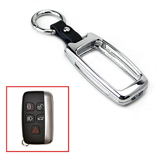 iJDMTOY (1) Silver Chrome Alloy Metal Key Fob Cover For 2010-16 Land Rover Ranger Rover, Range Rover Sport, LR4 Discovery Evoque, 2011-up Jaguar XE XJ XF F-Type F-Pace (Please verify before buying)