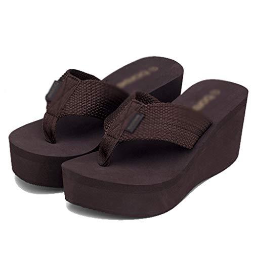 36eu Zeppa Thick Scarpe Brown colore Dimensioni Slippers Infradito Estate Pantofole Nero Con Donna Aminshap Da Spiaggia Slips Muffin Sandali qzTHHw