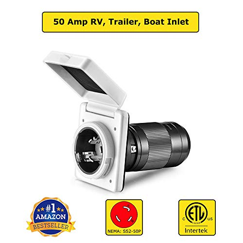 50 Amp RV Twist Lock Male Power Inlet Receptacle ETL Listed NEMA SS2-50P Power Inlet Plug Connector, RV Marine Shore Power Supply, White RV Marine Inlet for Trailer, Camper, RV, Boat, and Outdoor Use