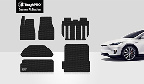 ToughPRO Tesla Model X Floor Mats Set and Trunk Mats Set - All Weather - Heavy Duty - Black Rubber - 7 Seater Only (Built from 8/22/17 and Newer)