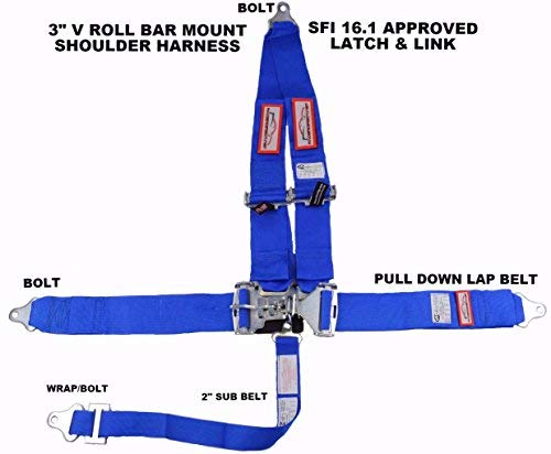 Racerdirect Blue Safety Harness 5 Point Racing Harness SFI 16.1 Latch & Link 3'' SEAT Belt