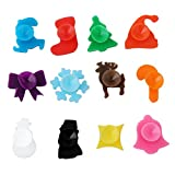 CH Glass Drink Markers Set-12 Mini Chrismas Elk Silicone Wine Glass Charms Reusable Glass Identifiers