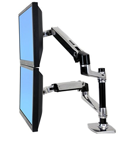 Halter Dual LCD Adjustable Monitor Stand, Dual Stacking Arm, Desk Clamp/Grommet Base- Optional Use for Either 2 LCDs or LCD and Laptop | Perfect for 27'' Screens up to 32'' LCD Monitors by Halter