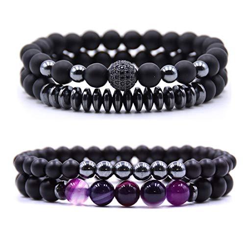 Moonsky 6mm Black Matte Onyx Beads Bracelet for Men Women Elastic Yoga Bracelet Set