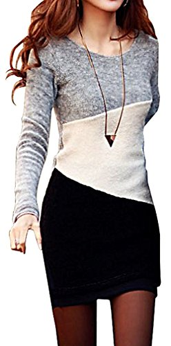 JVA Women's Stylish Slim Fit Long Thin Pullover Dress Wool Blends Sweater SW112, Grey Small