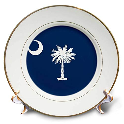 3dRose cp_158433_1 Flag of South Carolina Sc Us American United State of America USA White Palmetto Tree Indigo Blue Porcelain Plate, 8-Inch