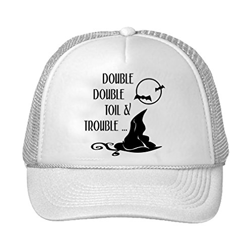 Speedy Pros Double Double Toil Trouble Witch Hat Halloween Bat Adjustable Trucker Hat Cap White (Mesh Cap White Double)