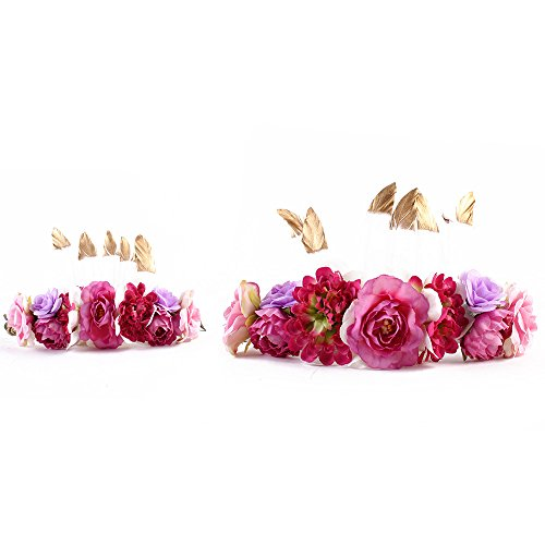 Baby and Mother Feather Flower Crown Festivals Headband Headwear Headdress 2pcs