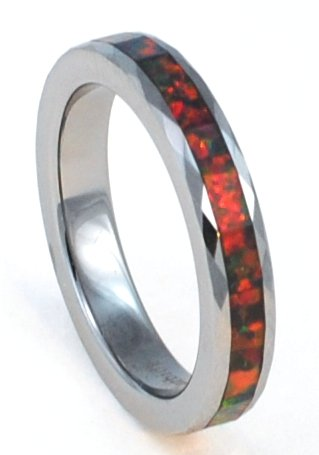 4mm Faceted Precious Opal Tungsten Carbide Ring with Red Inlays That Flashes with Orange, Red, and Slight Green Fire (5) ()