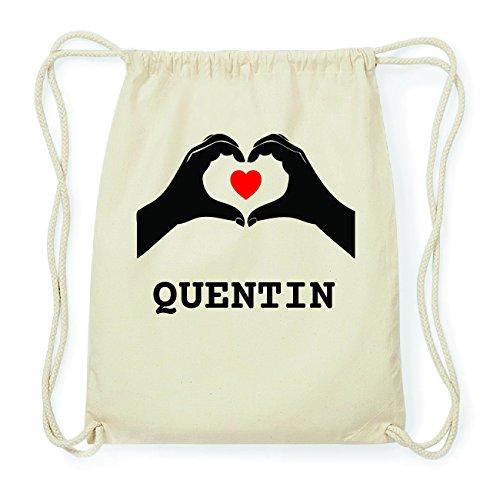 JOllify QUENTIN Hipster Turnbeutel Tasche Rucksack aus Baumwolle - Farbe: natur Design: Hände Herz