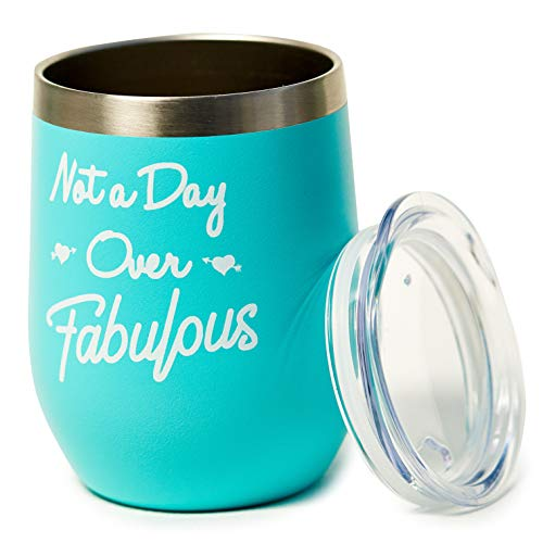 Not A Day Over Fabulous - Gifts for Her Birthday - Birthday Gifts for Women, Mom, Girlfriend, Best Friends, Daughter, Grandma, Wife, Teacher - 12oz Insulated Wine Tumbler with Lid - Unique Presents