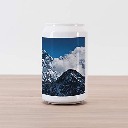 (Lunarable Mountain Cola Can Shape Piggy Bank, Everest Peak Landscape Clouds on Wild Snowy Summit Nobody in The Nature Theme, Ceramic Cola Shaped Coin Box Money Bank for Cash Saving, Blue White)