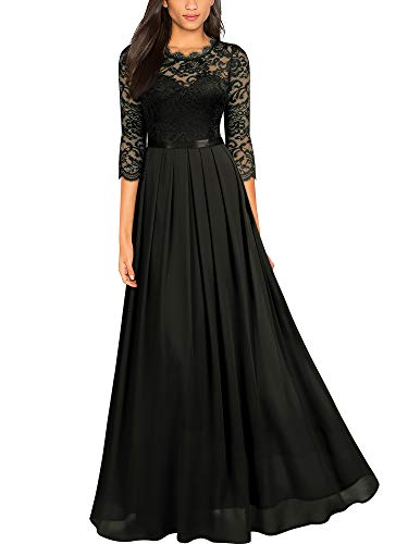 Miusol Women's Formal Floral Lace Wedding Bridesmaid Maxi Dress,X-Large,Black