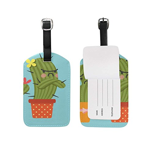 FunnyCustom Luggage Tag Couple of Cactus ID Identifier Travel Bag Labels by FunnyCustom
