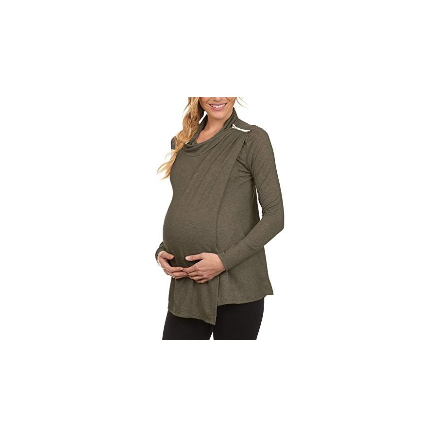 Maternity Clothes, Women's Long Sleeve Cowl Neck Double Layer Pregnancy Nursing Pullover Tunic Tops Blouse