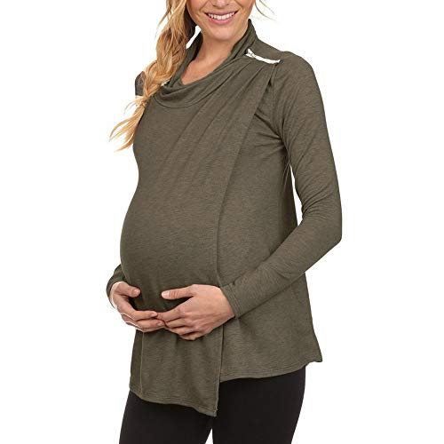 Toponly Women's Long Sleeve Cowl Neck Side Open Double Layer Nursing Tops Breastfeeding T-Shirts Coffee
