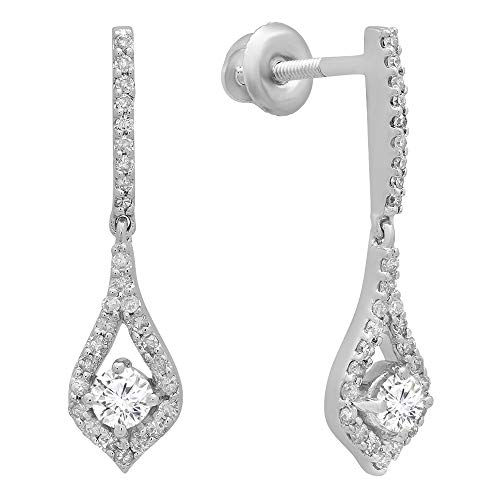 Dangle Diamond Fancy (0.38 Carat (ctw) 14K White Gold Round White Diamond Ladies Dangling Drop Earrings)