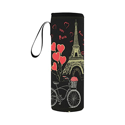 InterestPrint Gold Eiffel Tower Neoprene Water Bottle Sleeve Insulated Holder Bag 16.90oz-21.12oz, Bike Red Heart Love Sport Outdoor Protable Cooler Carrier Case Pouch Cover with Handle by InterestPrint
