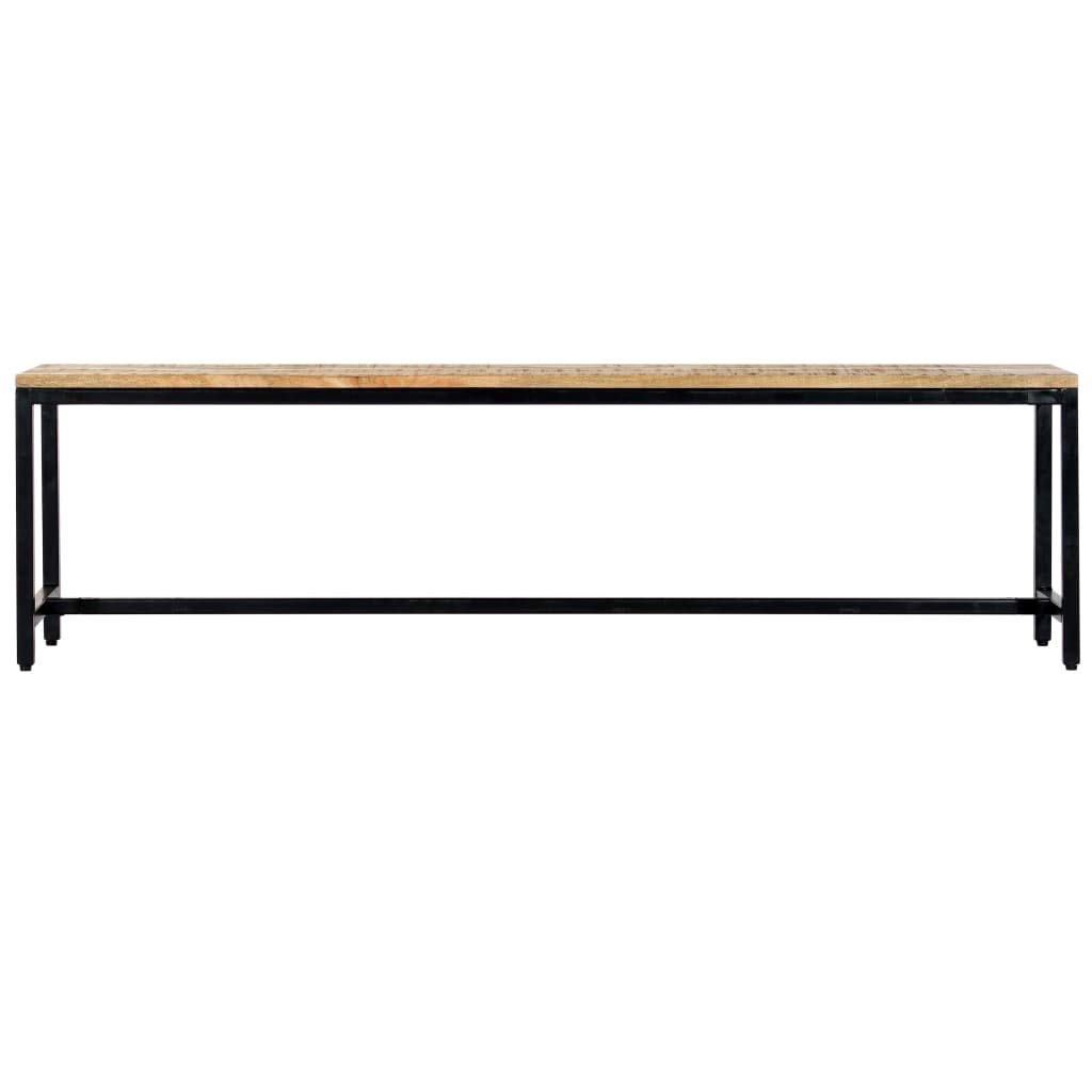vidaXL Solid Rough Mango Wood Dining Bench Industrial Hall Kitchen Dinner Table Seat 160cm