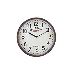 Deco 79 Rustic Round Metal Old Town Analog Wall Clock, 14Diameter, Distressed White Finish