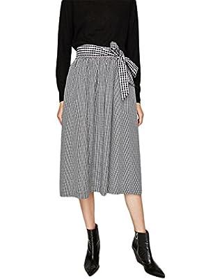 Vero Viva Womens Plaid Vintage Bowknot Drawstring A-Line Midi Skirt with Pockets