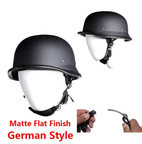 Dream Apparel Motorcycle Skull Cap German Novelty Matte Flat Skull Cap Helmet W/Adjustable Chin Strap (L - (22.6