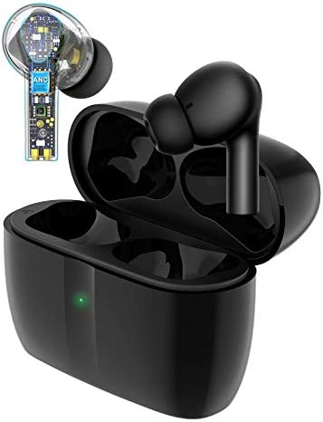 JUJ Active Noise Cancellation Wireless Bluetooth Earbuds In-Ear, ANC ENC Sports Running Earplugs, TWS Earplugs with Charging case, 55 Hrs Charging Time Quick Connect for Phone Ipad and Android (black)