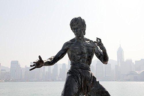 (LAMINATED 36x24 inches POSTER: Bruce Lee Statue Monument Hong Kong Hong Kong Asia China Landmark Sculpture Bronze Culture Travel Tourism Chinese Hongkong Attraction Actor Memory Karate Judo )