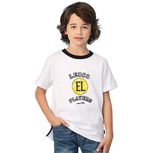 Sleeve Short Crewneck T-shirt Pique (Leo&Lily Big Boys Short Sleeve Color Crew-Neck T-Shirt (White,14))
