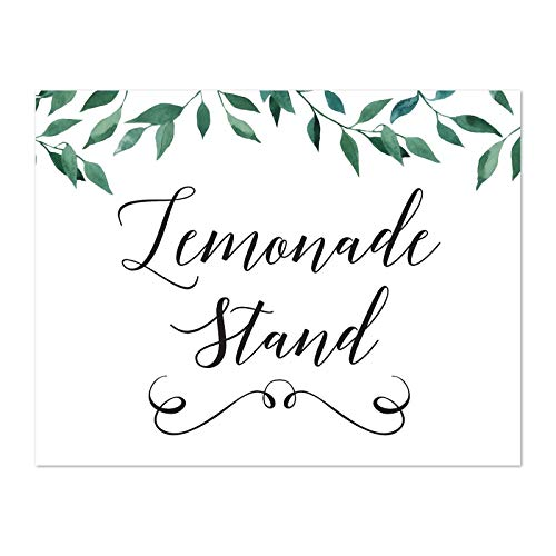 Andaz Press Wedding Party Signs, Natural Greenery Green Leaves, 8.5x11-inch, Lemonade Stand Reception Dessert Table Sign, 1-Pack ()