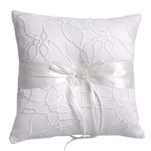 BessWedding Pearl Flower Decor Wedding Party Ring Pillows Bearer Cushion 005A by BessWedding