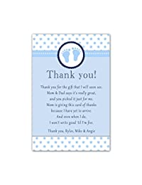 30 Thank You Cards Baby Boy Shower Cute Feet Stars Blue Personalized Cards Photo Paper BOBEBE Online Baby Store From New York to Miami and Los Angeles