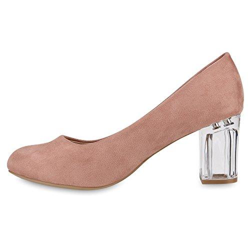 Stiefelparadies Klassische Damen Pumps Lack High Heels Elegante Party Schuhe Strass Blockabsatz Glitzer Damenschuhe Wildleder-Optik Flandell Rosa Brooklyn