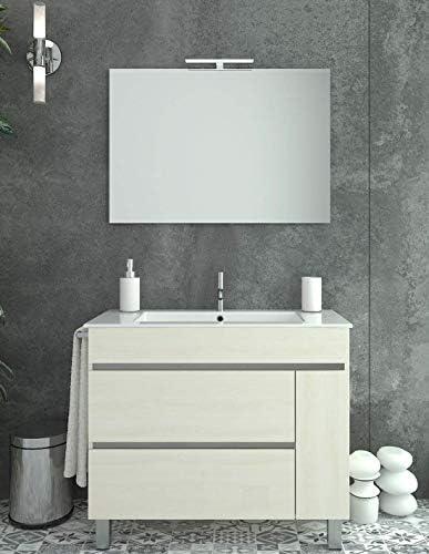 PDM Mueble DE BAÑO DE DISEÑO con Lavabo Y Espejo Crema 80CM: Amazon.es: Hogar