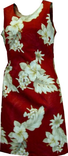 Short Tank - Women's Plumeria Hibiscus Feather Fern Hawaiian Aloha Poplin Cotton Dress in Red - L - Aloha Dress