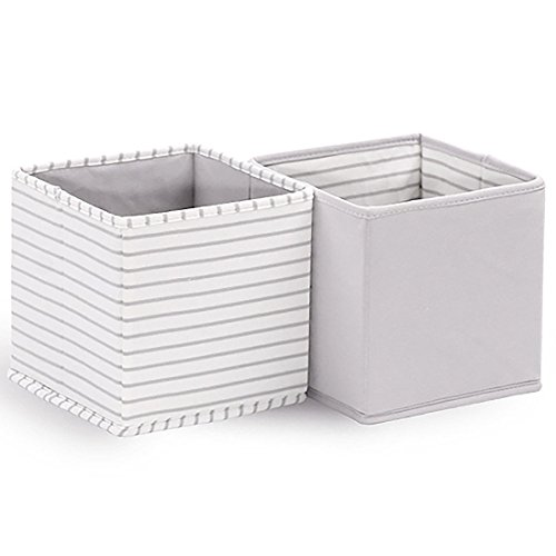 (Baby Nursery Storage Cloth Totes/Bins 2-Pack in White and Grey Stripes and Solids - 7 Inch Collapsible Foldable Fabric Cubes for Nursery, Home, or Office Organizer)