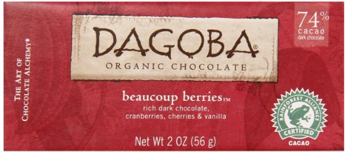 Dagoba Organic Beaucoup Berries Chocolate Candy Bar  74  Cacao Fair Trade Certified Gluten Free Organic Dark Chocolate With Cranberries  Cherries  And Vanilla  2 Ounce Bar  Pack Of 12