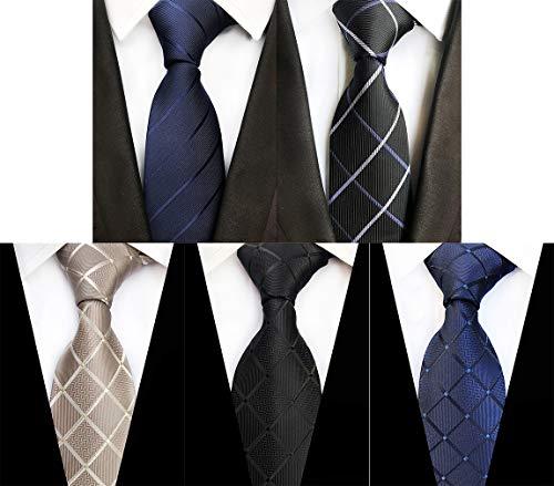 MOHSLEE Men's Lot 5 PCS Tie Striped Plaid Neck Ties Silk Suit Neckties Set of 5