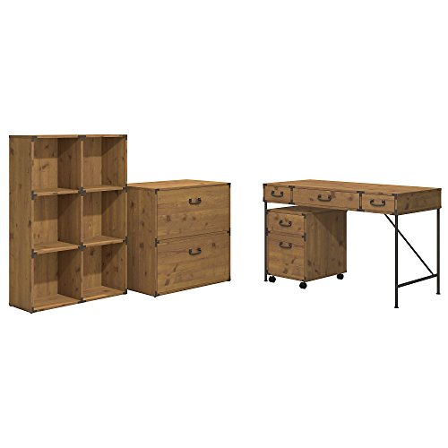 Cheap Ironworks 48W Writing Desk, 2 Drawer Mobile Pedestal, 6 Cube Bookcase, and Lateral File Cabinet