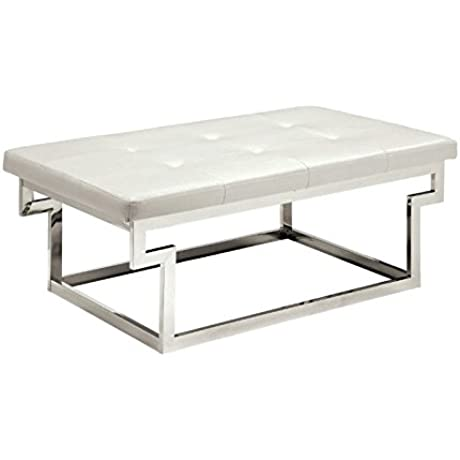 Furniture Of America Jaxi Tufted Faux Leather Bench In White