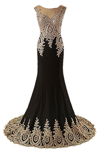 Annie's Bridal Women's Embroidery Beaded Mermaid Evening Dresses Long Prom Gowns Black US10