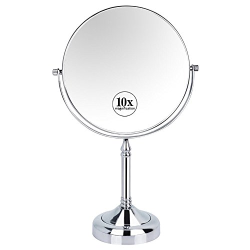 GURUN 8-inch Two-sided Swivel Tabletop Makeup Mirror with 10x Magnification,12.2-inch Height,Chrome Finish -