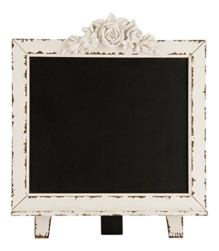 Distressed Wood Framed Free Standing Chalkboard (L:13.5 in. x W:16 in.)- Blackboard Sign - Wedding Chalkboard (Distressed White)