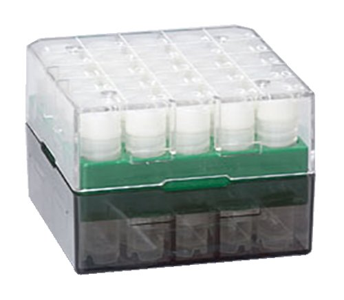 Globe Scientific BioBox 3039G Polycarbonate Storage Box with Transparent Lid for 1mL and 2mL Tubes, Holds 25 Vials, Green (Pack of 8)