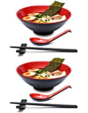 2 Sets 1000 milliliters Japanese Ramen Noodle Soup Bowl Dishware Ramen Bowl Set with Matching Spoon and Chopsticks for Udon Soba Pho Asian Noodles (2, Red, 7.7 inches)