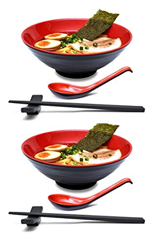 Soup Bowls for Noodle Soup 3-pc Set Green 鸡 Rooster Noodle Bowl with Soup Spoon /& Chopstick Pho Soup 42 oz by Goodscious Ramen Curry Thai Udon Japanese Ceramic Ramen Bowl Set Soba Miso